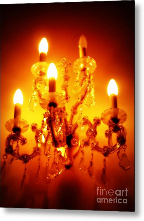 Dining Room Decor Metal Print featuring the photograph Glowing Chandelier--Companion Piece by Carol Groenen