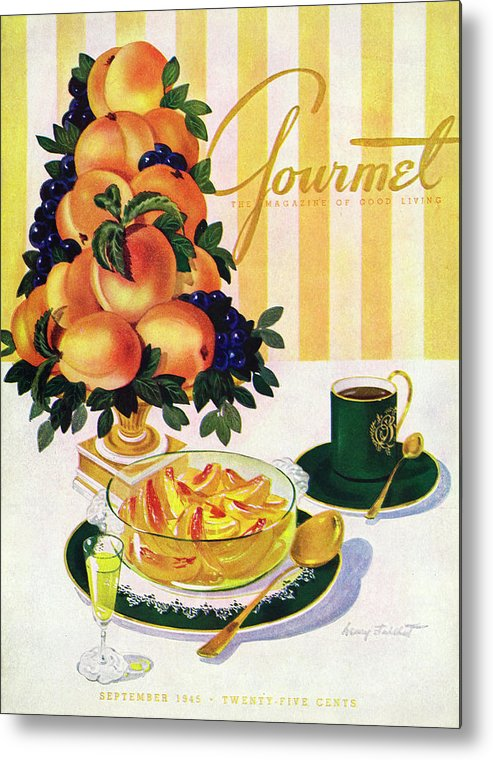 Illustration Metal Print featuring the photograph Gourmet Cover Featuring A Centerpiece Of Peaches by Henry Stahlhut