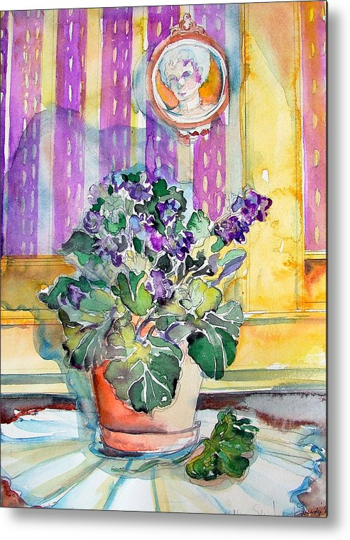 Violets Metal Print featuring the painting Grandmas' Violets by Mindy Newman