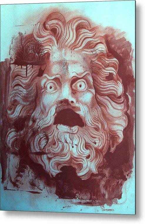 Figure Metal Print featuring the digital art Greek Mask by Tom Durham