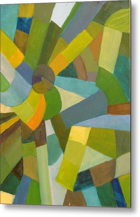 Green Metal Print featuring the painting Green Pallette by Art Nomad Sandra Hansen