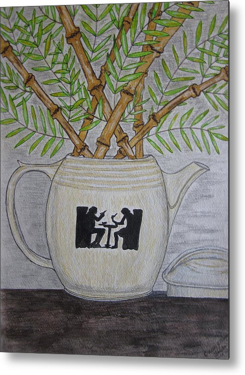 Hall China Metal Print featuring the painting Hall China Silhouette Pitcher with Bamboo by Kathy Marrs Chandler