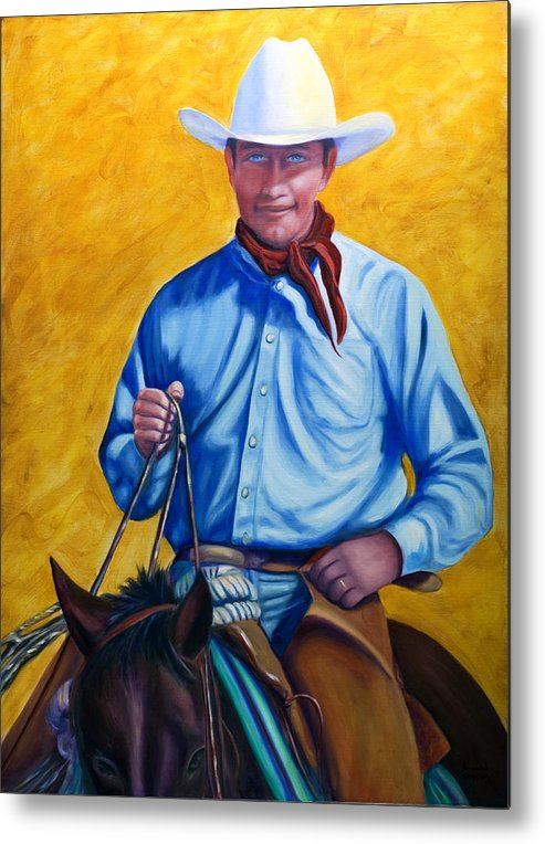 Cowboy Metal Print featuring the painting Happy Trails by Shannon Grissom