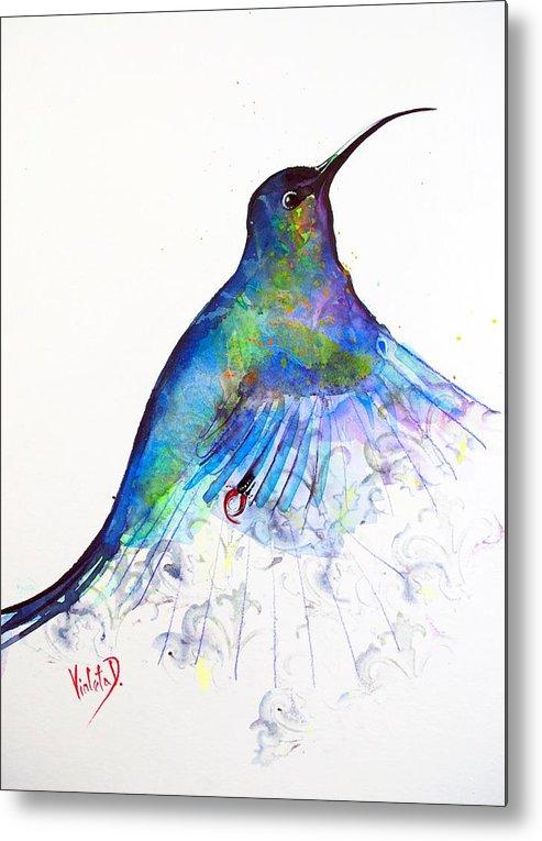 Hummingbird Metal Print featuring the painting Hummingbird 11 by Violeta Damjanovic-Behrendt