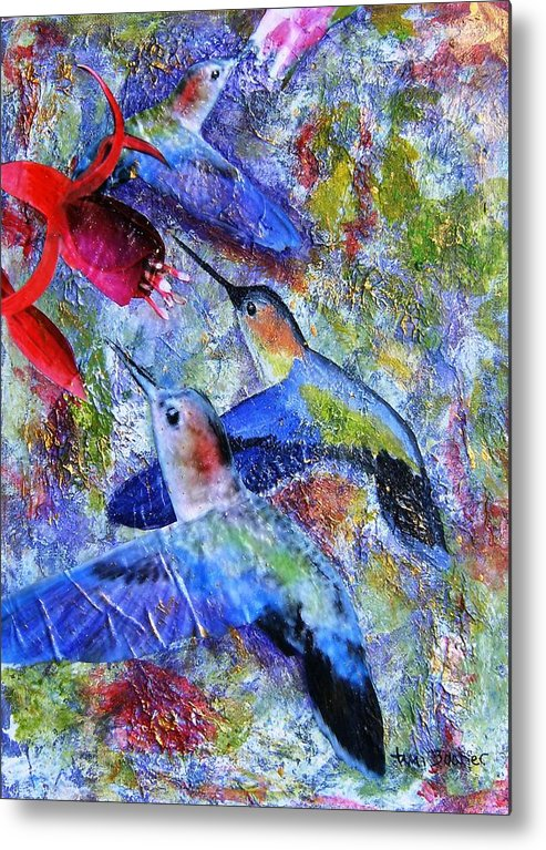 Humming Birds Metal Print featuring the painting Hummingbird Joy by Tami Booher