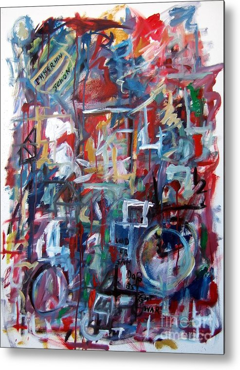Abstract Metal Print featuring the painting Immerhin Schoen by Michael Henderson
