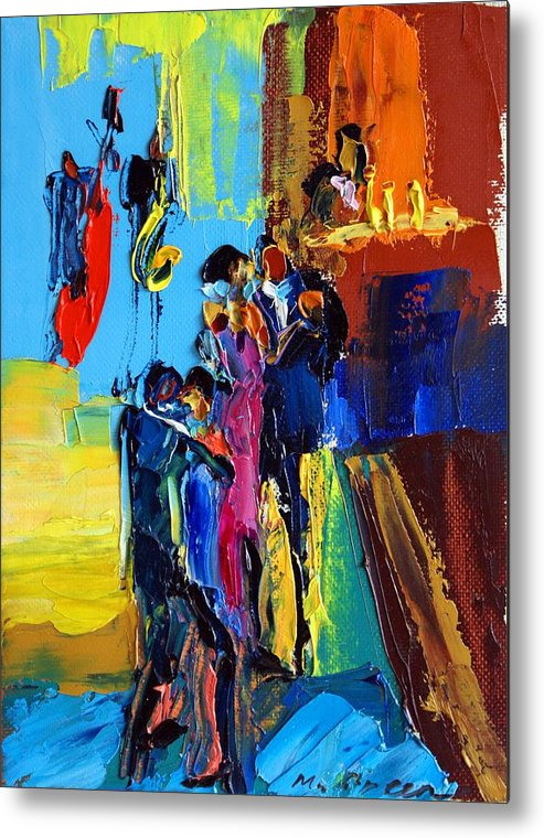 Artwork Metal Print featuring the painting Jazz Club by Maya Green