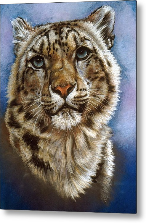 Snow Leopard Metal Print featuring the pastel Jewel by Barbara Keith