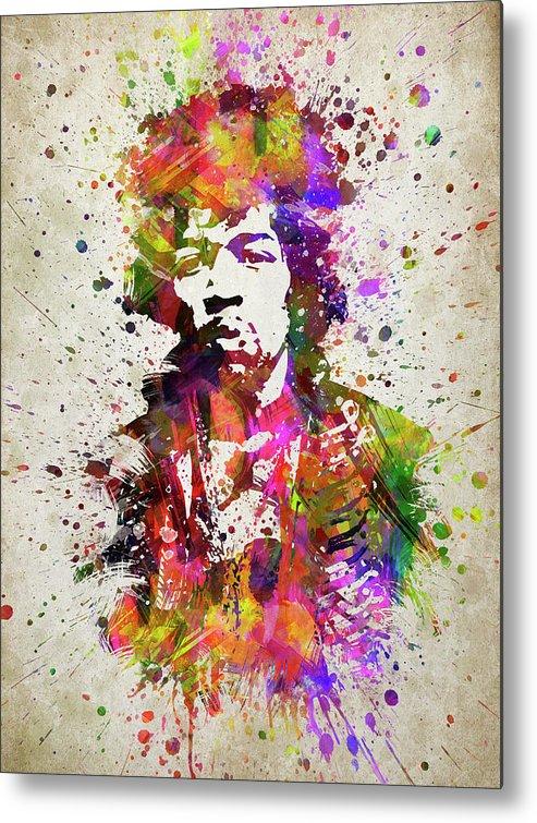 Jimi Hendrix Metal Print featuring the digital art Jimi Hendrix In Color by Aged Pixel