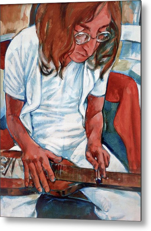 John Lennon Portrait Beatles Music Musician Rock Metal Print featuring the painting John by Scott Waters