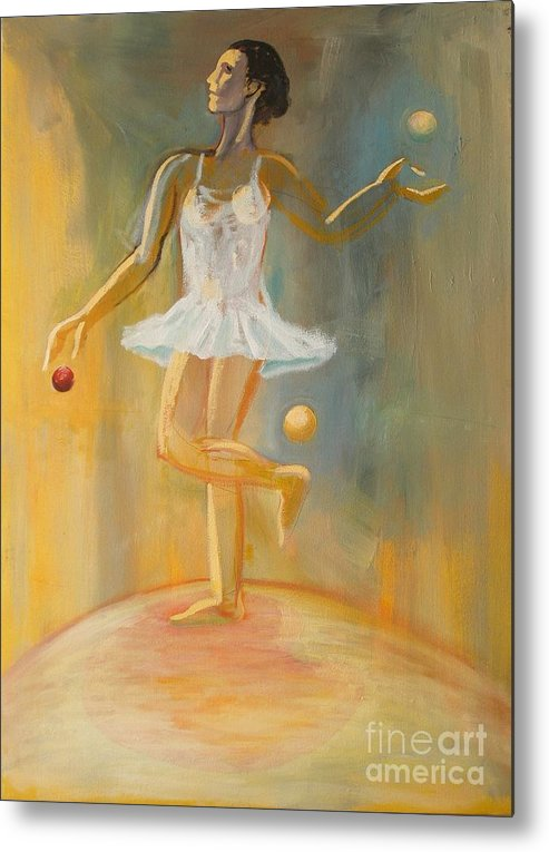 Juggling Metal Print featuring the painting Juggling by Ushangi Kumelashvili