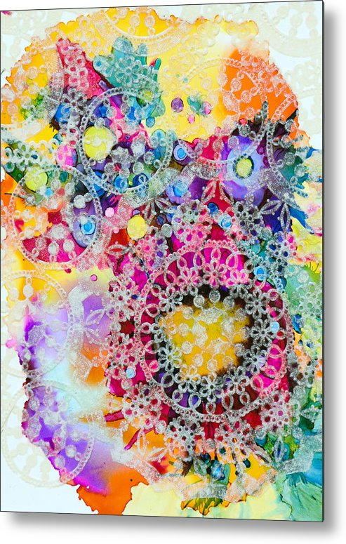 Abstract Metal Print featuring the painting Kaleidoscope - B by Sandy Sandy
