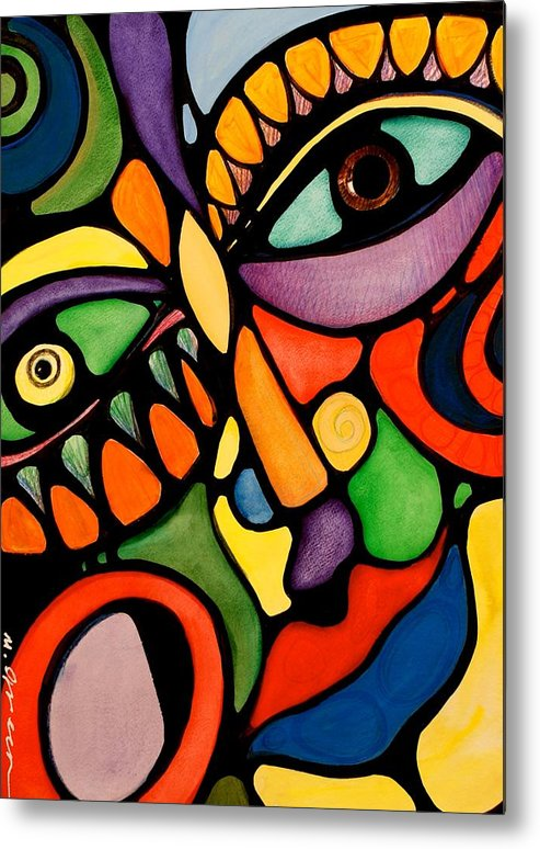 Abstract Metal Print featuring the painting Karma by Maya Green