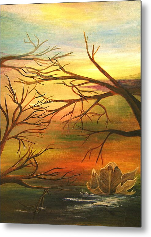 Landscape Metal Print featuring the painting Last Leaf of Fall by Vi Mosley