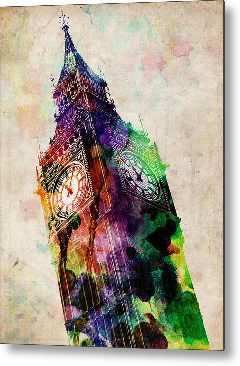 London Metal Print featuring the digital art London Big Ben Urban Art by Michael Tompsett