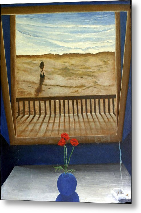 Figurative Metal Print featuring the painting Lonely Beach by Georgette Backs
