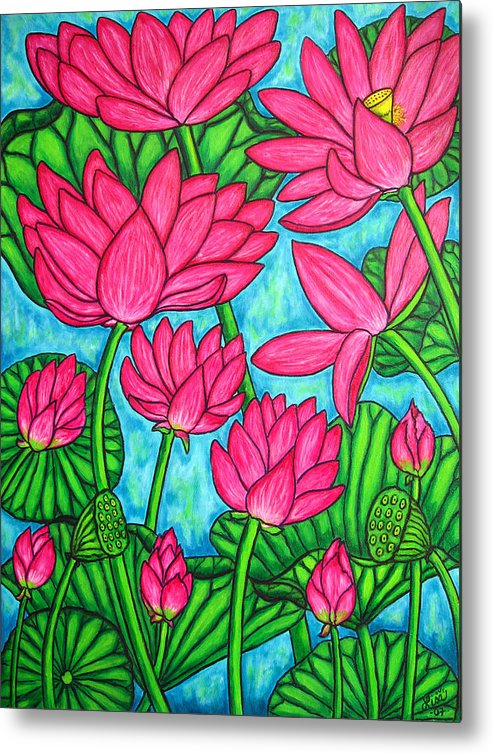 Metal Print featuring the painting Lotus Bliss by Lisa Lorenz