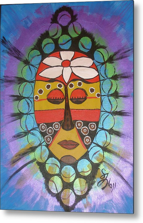 Mask Metal Print featuring the painting Mask III by Sheila J Hall