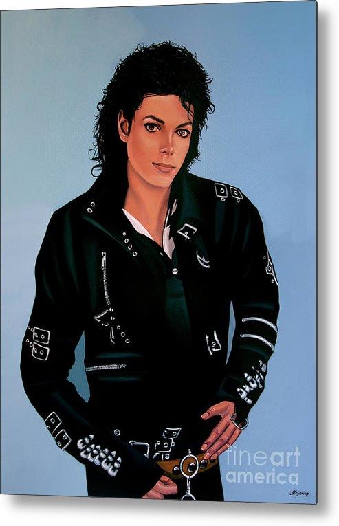 Michael Jackson Metal Print featuring the painting Michael Jackson Bad by Paul Meijering