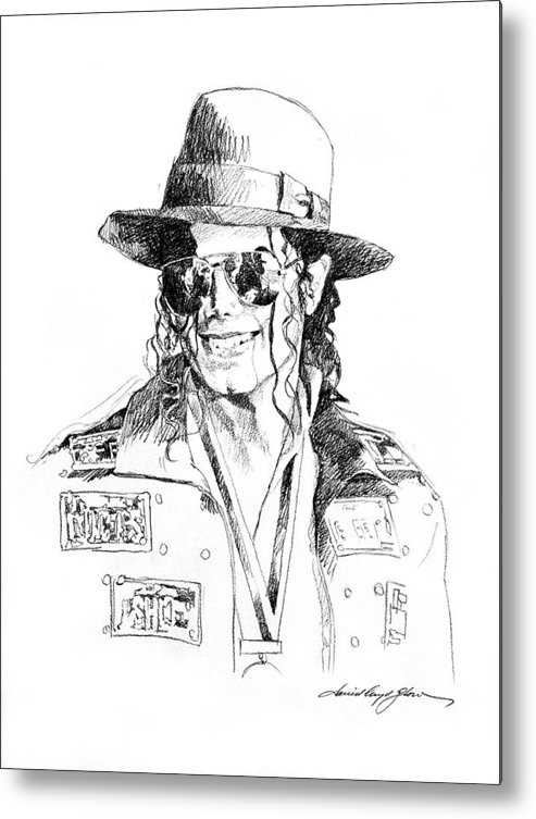 Michael Jackson Metal Print featuring the drawing Michael's Jacket by David Lloyd Glover