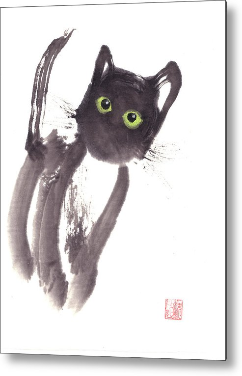 A Curious Black Kitten. This Is A Contemporary Chinese Ink And Color On Rice Paper Painting With Simple Zen Style Brush Strokes.  Metal Print featuring the painting Midnight by Mui-Joo Wee