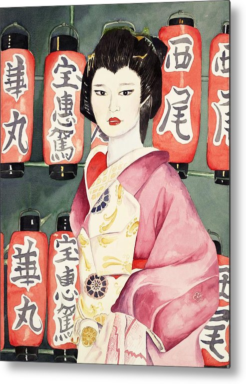 Geisha In Kimono With Red Lanterns Metal Print featuring the painting Miss Hanamaru at Osaka Festival by Judy Swerlick