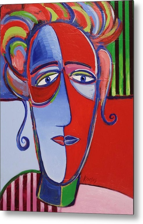 Faces Metal Print featuring the painting Mona and Me by Rollin Kocsis
