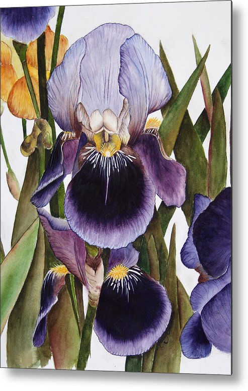 Iris Metal Print featuring the painting My Iris Garden by Mary Gaines