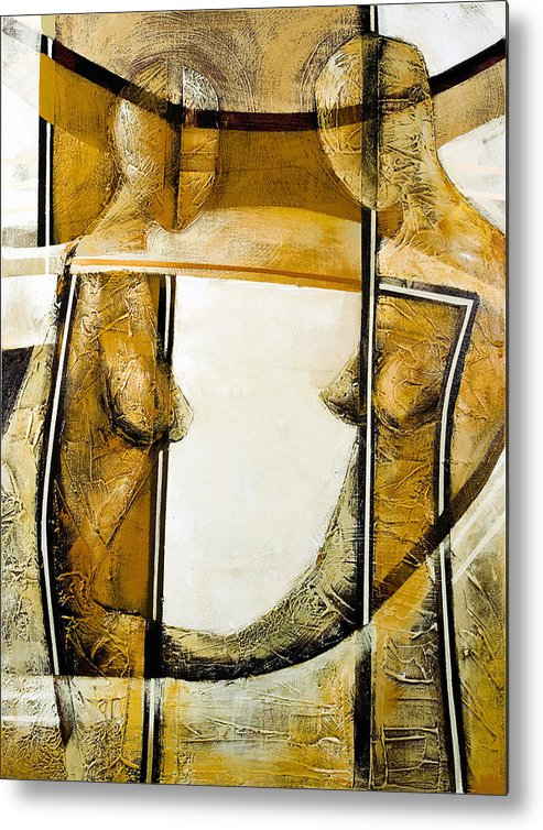 Figurative Abstract Metal Print featuring the painting My Mirror 2 by Milda Aleknaite