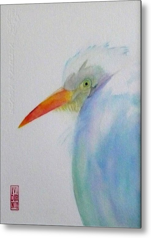 Egret Metal Print featuring the painting Mystic Blue by David Horning