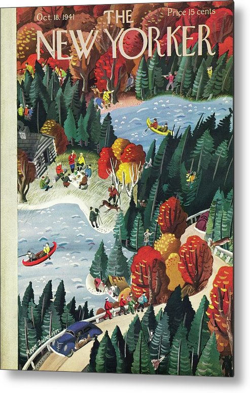 Fall Metal Print featuring the painting New Yorker October 18 1941 by Roger Duvoisin