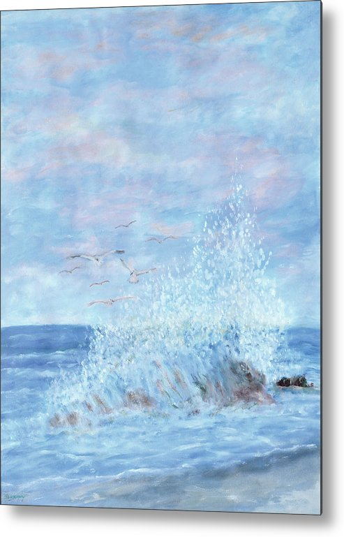 Gulls Metal Print featuring the painting Ocean Spray by Ben Kiger