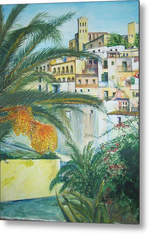 Ibiza Old Town Metal Print featuring the painting Old Town Ibiza by Lizzy Forrester