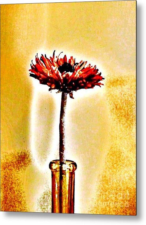 Photo Metal Print featuring the photograph Orange Wooden Flower by Marsha Heiken