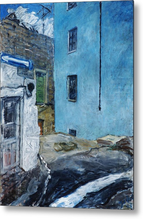 Sardinia House Blue Street Old Metal Print featuring the painting Orgosolo by Joan De Bot