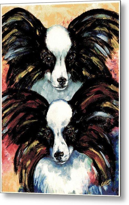 Papillon Metal Print featuring the painting Papillon De Mardi Gras by Kathleen Sepulveda