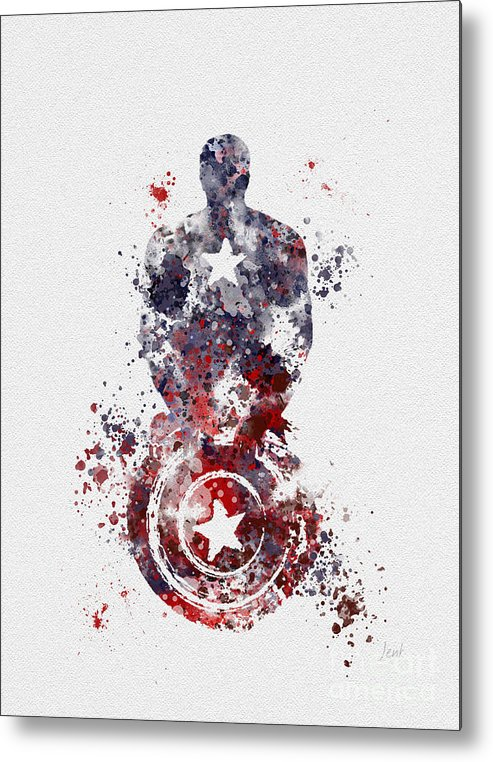 Captain America Metal Print featuring the mixed media Patriotic Supersoldier by My Inspiration