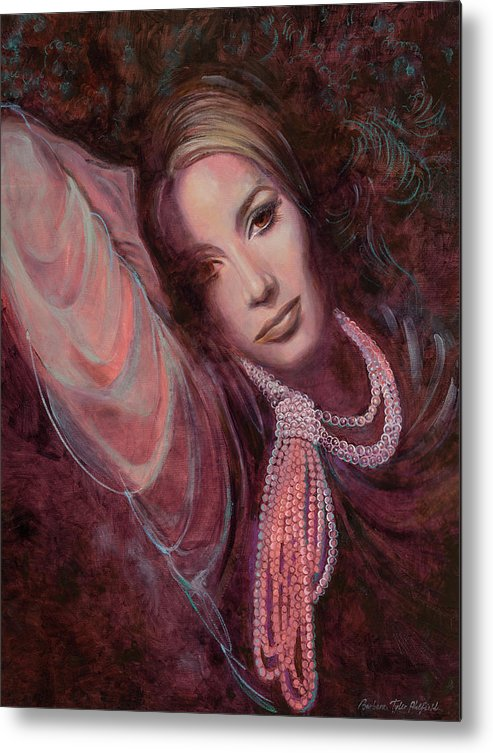 Fashion Illustration Metal Print featuring the painting Pearls on Rorie by Barbara Tyler Ahlfield
