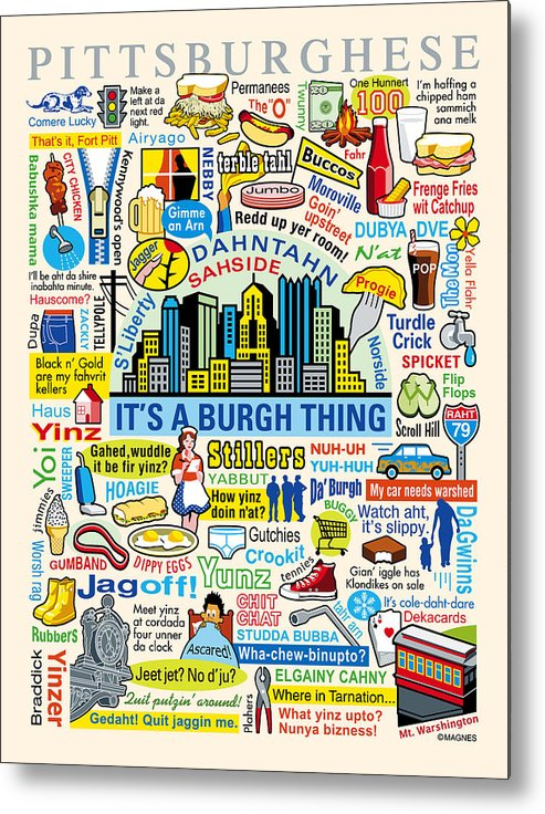 Pittsburgh Metal Print featuring the digital art Pittsburghese by Ron Magnes