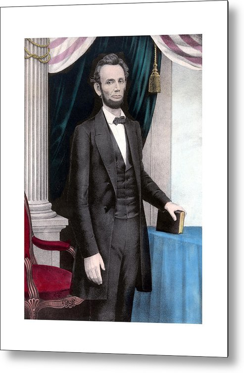 Abraham Lincoln Metal Print featuring the painting President Abraham Lincoln In Color by War Is Hell Store