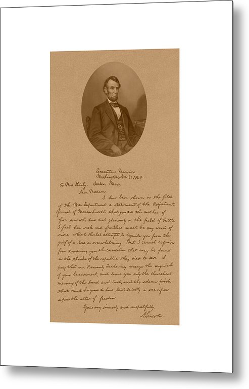 Bixby Letter Metal Print featuring the mixed media President Lincoln's Letter To Mrs. Bixby by War Is Hell Store