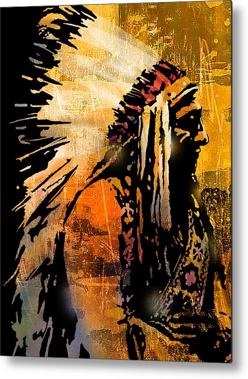 Native American Metal Print featuring the painting Profile of Pride by Paul Sachtleben
