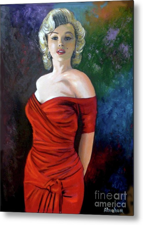 M.monroe Metal Print featuring the painting Red Dress by Jose Manuel Abraham