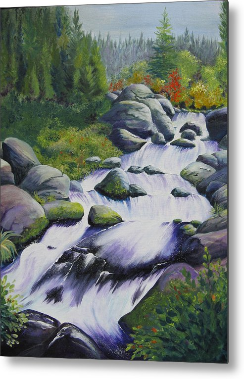 Waterfall Metal Print featuring the painting Rocky Creek by Karen Stark