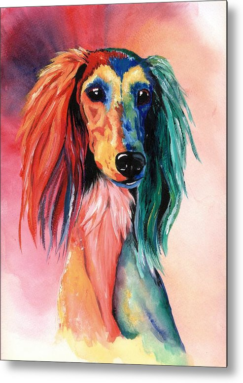 Saluki Metal Print featuring the painting Saluki Sunset by Kathleen Sepulveda