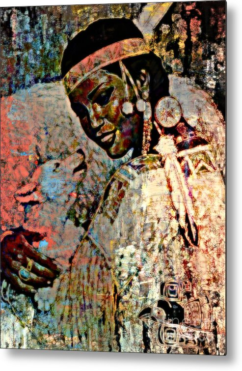 Native American Metal Print featuring the painting She Dances With Wolves by Wbk