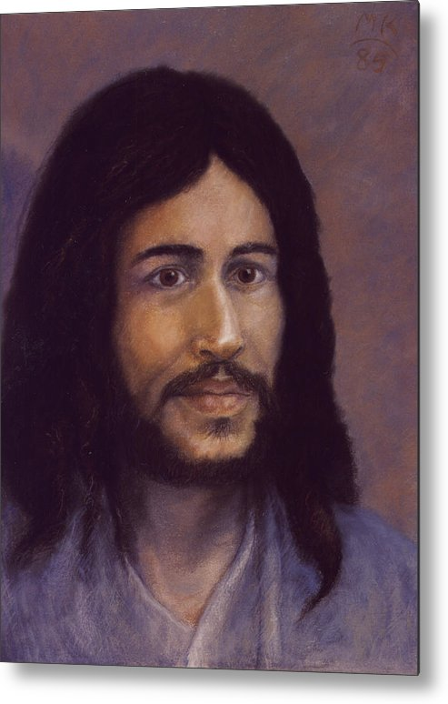 Jesus Metal Print featuring the painting Smiling Jesus by Miriam A Kilmer