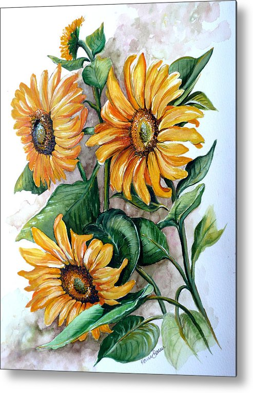 Flower Paintings Yellow Flower Paintings Floral Paintings Botanical Paintings  Sun Flower Paintings Greeting Card Paintings Canvas Paintings Prints Paintings  Metal Print featuring the painting Sunflowers by Karin Dawn Kelshall- Best