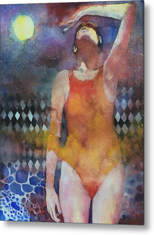 Water Metal Print featuring the painting Swimmer by Alessandro Andreuccetti
