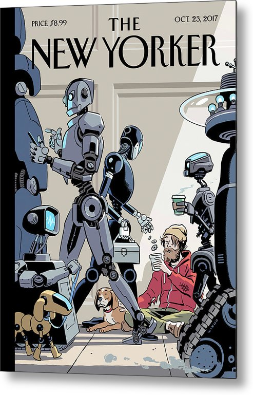 Tech Support Metal Print featuring the drawing Tech Support by R Kikuo Johnson